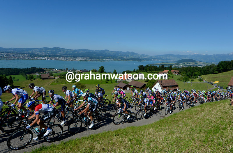 The Tour de Suisse climbs above the Zurichsee in 2013