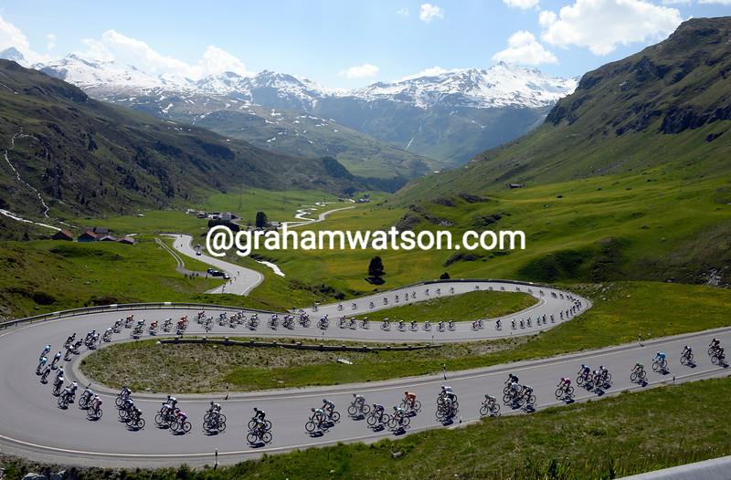 The peloton descends the Julier Pass on stage eight of the 2013 Tour de Suisse