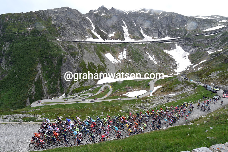 The peloton climbs the St Gottard Pass in the 2015 Tour de Suisse