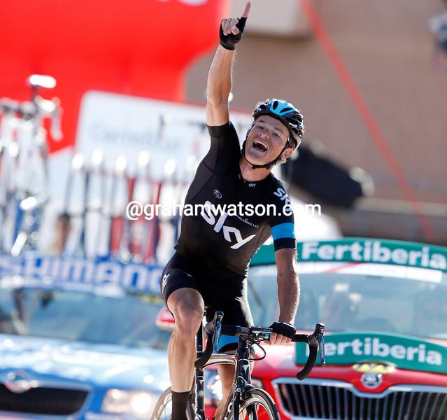 Vasil Kiryienka wins stage eighteen of the 2013 Tour of Spain