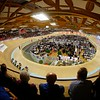 Spectators watch the mens team pursuit in the 2015 European Track Championships in Bulle, Switzerland