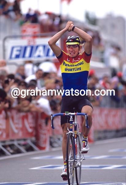 Viatcheslav Ekimov wins a stage of the 1990 Tour de France