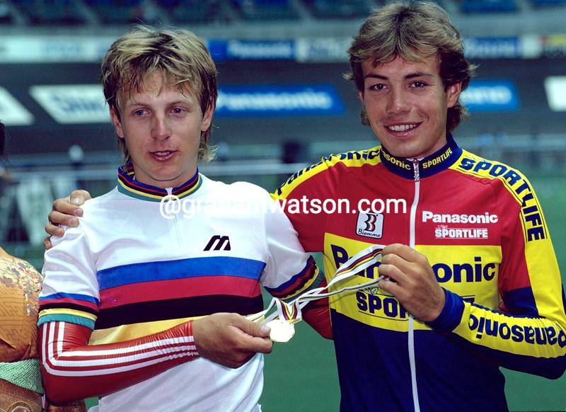 Viatcheslav Ekimov and Evgeni Berzin in the 1990 World Track Championships