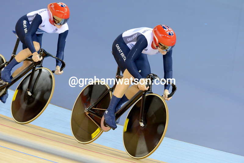 VICTORIA PENDLETON IN THE WOMENS TEAM SPRINT AT THE 2012 OLYMPIC GAMES