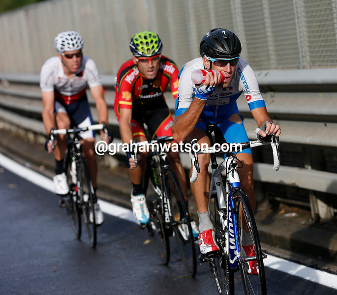 Nibali leads the chase ahead of Valverde and Rui Costa - there's no-one else in the hunt now...