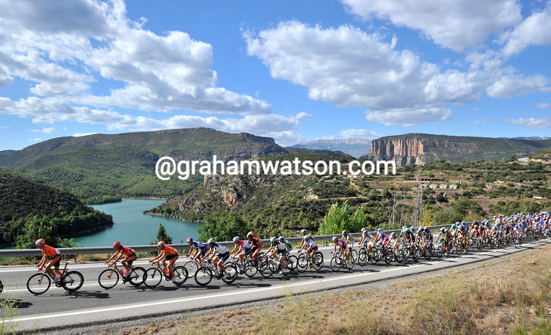 THE PELOTON ON STAGE TWELVE OF THE TOUR OF SPAIN