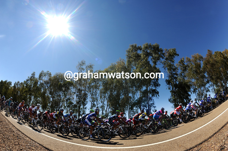 THE PELOTON IN EXTREMADURA ON STAGE SEVEN OF THE 2011 TOUR OF SPAIN