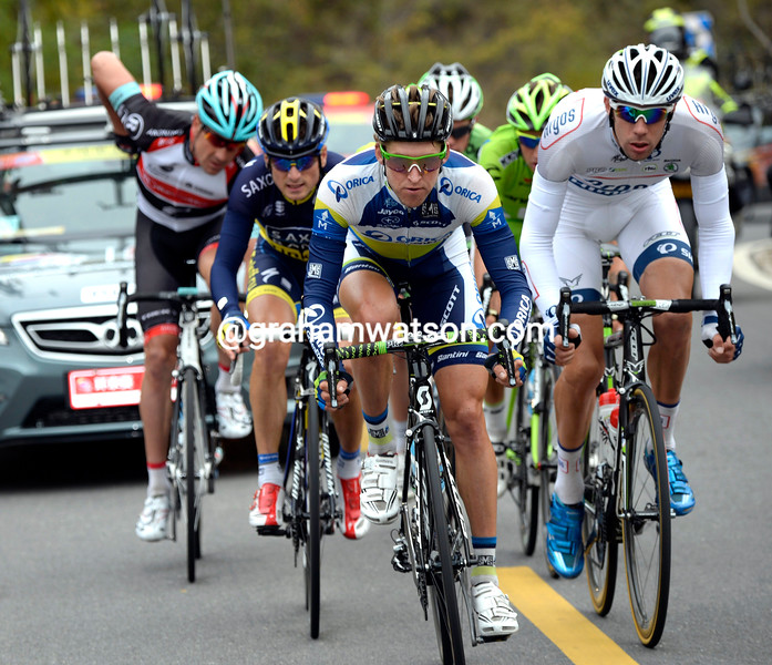 Wesley Sulzberger leads an escape on stage three of the 2013 Tour of Beijing