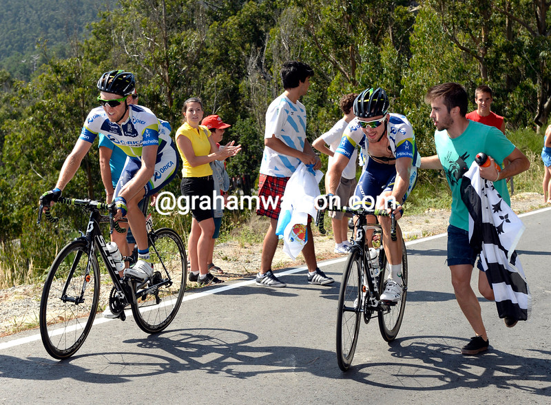 Leigh Howard and Wesley Sulzberger on stage four of the 2013 Tour of Spain