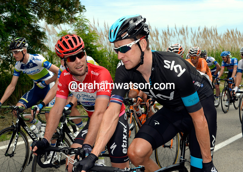 Mark Cavendish and  Bradley Wiggins on stage seven at the 2013 Giro d'Italia