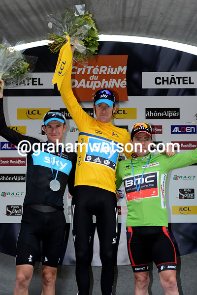 Michael Rogers, Bradley Wiggins and Cadel Evans on the podium after the final stage of the 2012 Dauphine Libere.