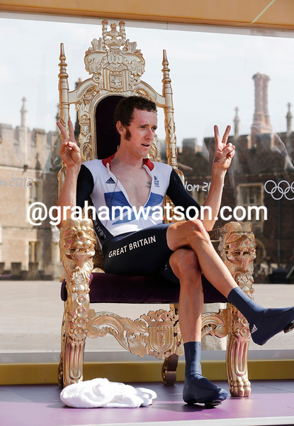 Bradley Wiggins wins the Mens Olympic Time Trial in 2012