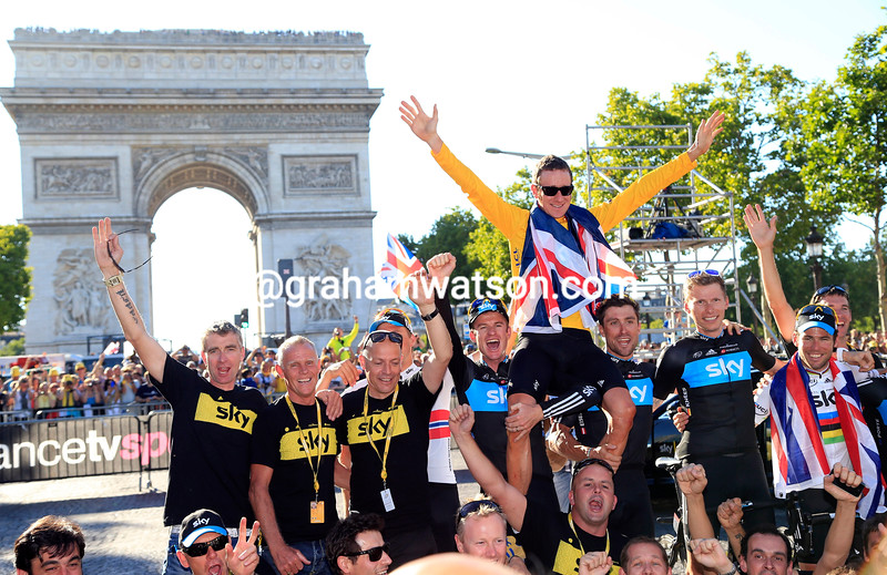 Team Sky celebrate the victory of Bradley Wiggins in the 2012 Tour de France