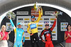 ALEXANDRE VINOKOUROV, BRADLEY WIGGINS AND CADEL EVANS ON THE PODIUM AFTER STAGE 7 OF THE 2011 DAUPHINE LIBERE