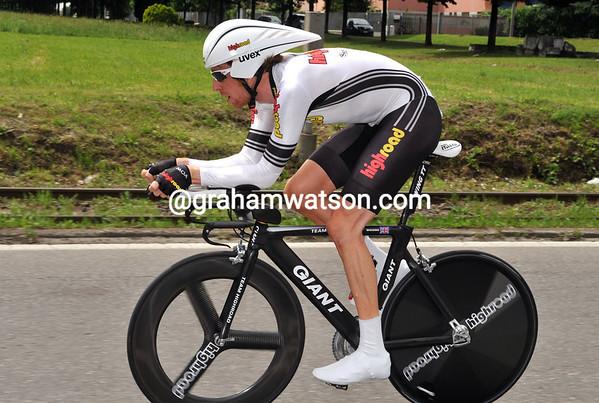 BRADLEY WIGGINS ON STAGE TWENTY ONE OF THE 2008 GIRO D'ITALIA