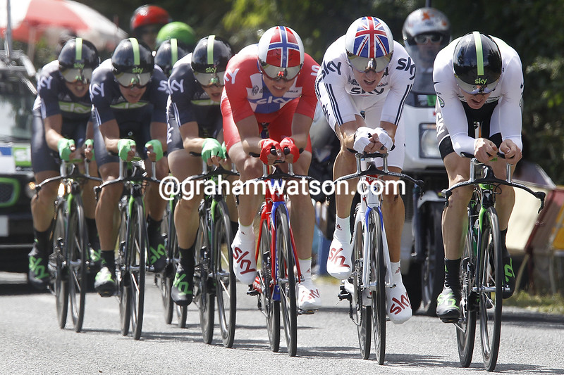 GERAINT THOMAS AND BRADLEY WIGGINS LEAD TEAM SKY ON STAGE TWO OF THE 2011 TOUR DE FRANCE
