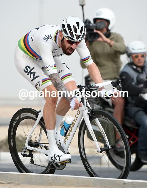 Bradley Wiggins on stage three of the 2015 Tour of Qatar