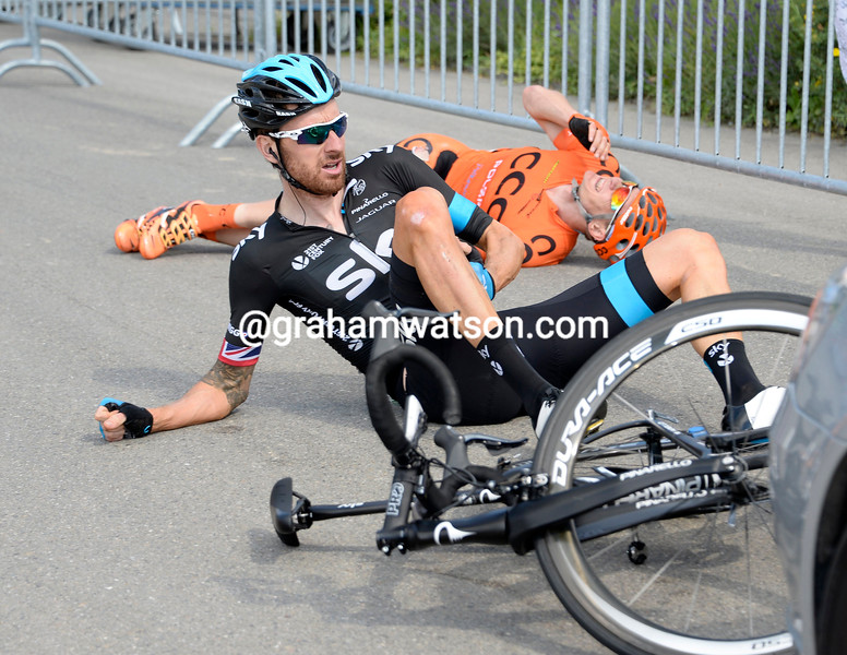 Bradley Wiggins crashes on stage four of the 2014 Tour de Suisse