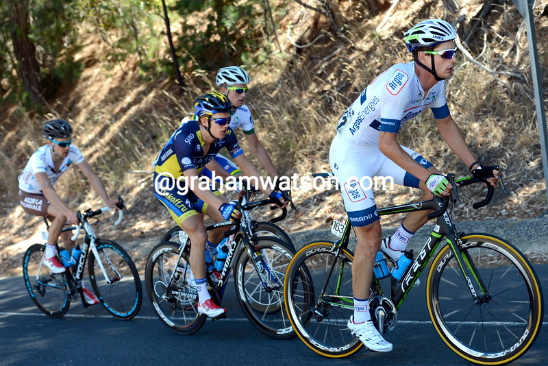 William Clarke leads an escape stage two of the 2013 Tour Down Under