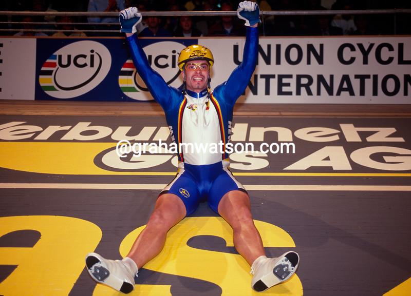 Jens Fiedler wins the Kierin Gold medal at the 1999 World Championships in Stuttgart, Germany
