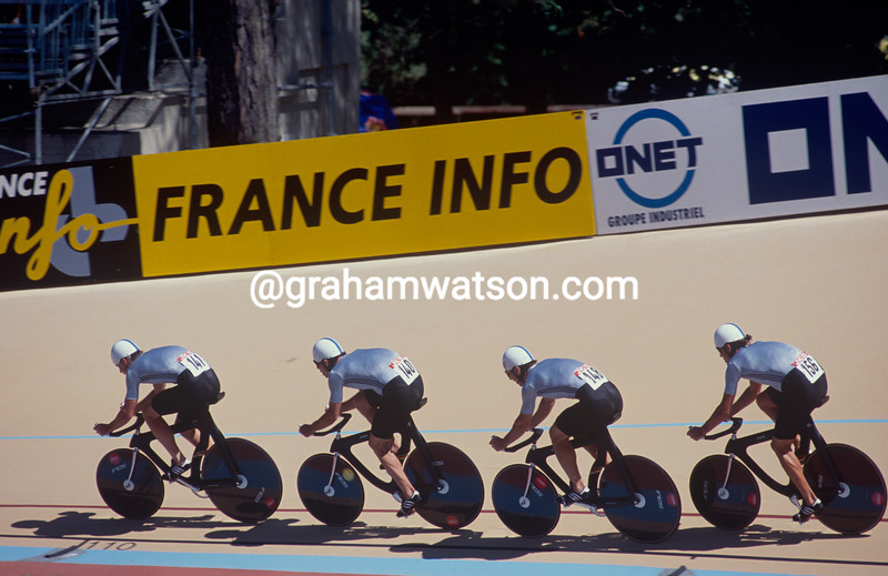 The East German team pursuit at the 1989 World Championships in Lyon, France