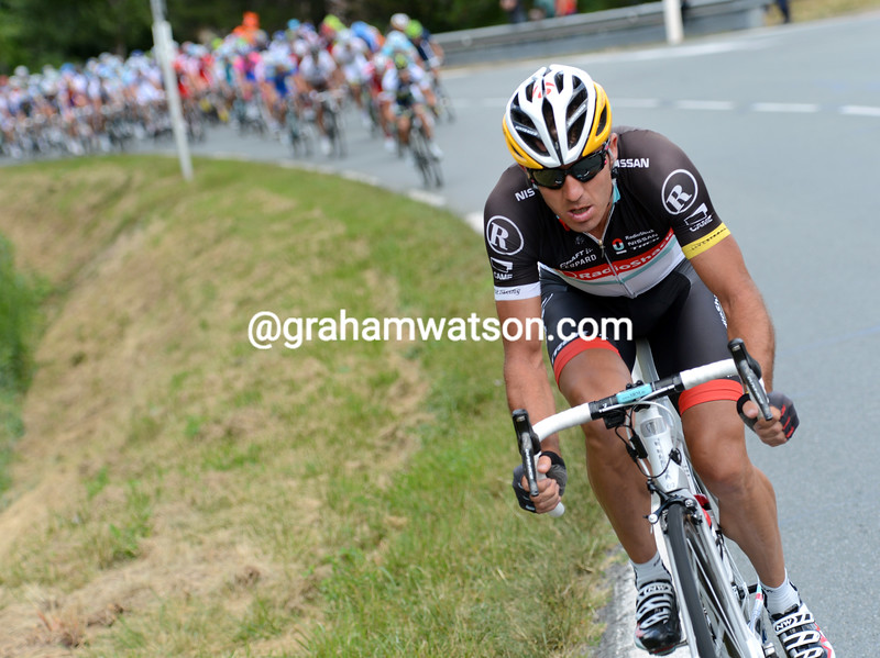 Yaroslav Popovych attacks on stage fourteen of the 2012 Tour de France