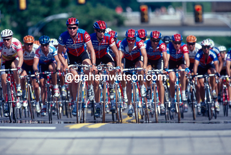 Sean Yates leads the Motorola team in the 1996 Tour DuPont