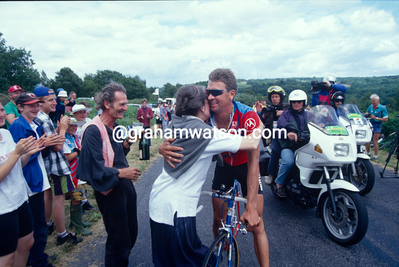 Family of Sean Yates celebfrate during the Tour de France in the UK in 1994