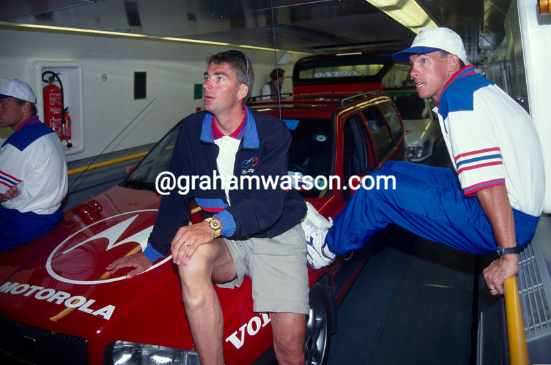 Phil Anderson and Sean Yates travel on the Eurotunnel in the 1994 Tour de France