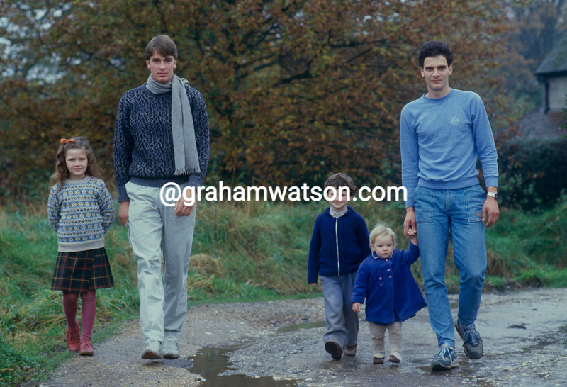 Sean Yates with his brothers and sisters in 1986