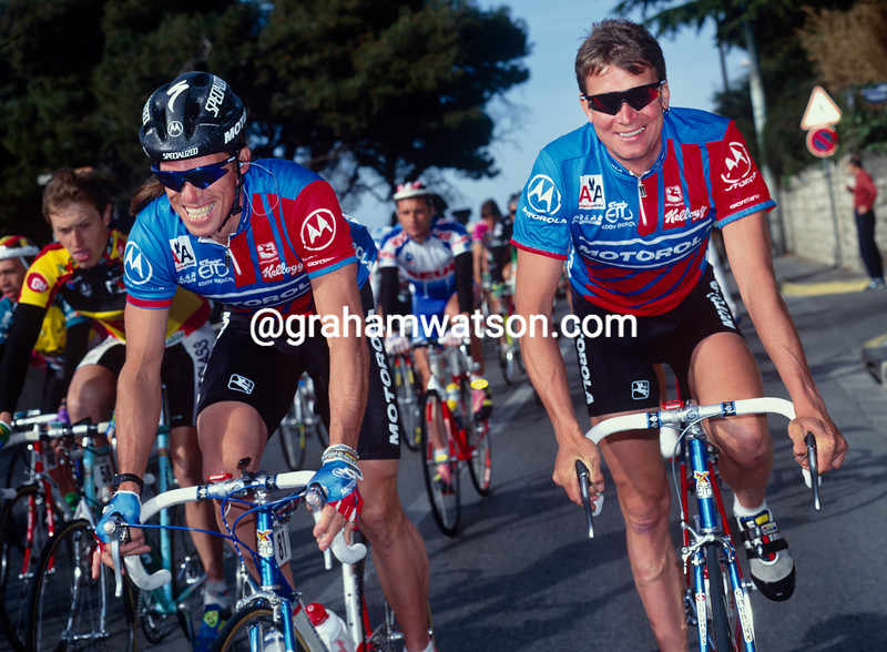 Sean Yates ands Phil Anderson in the 1991 Tour Mediterranean