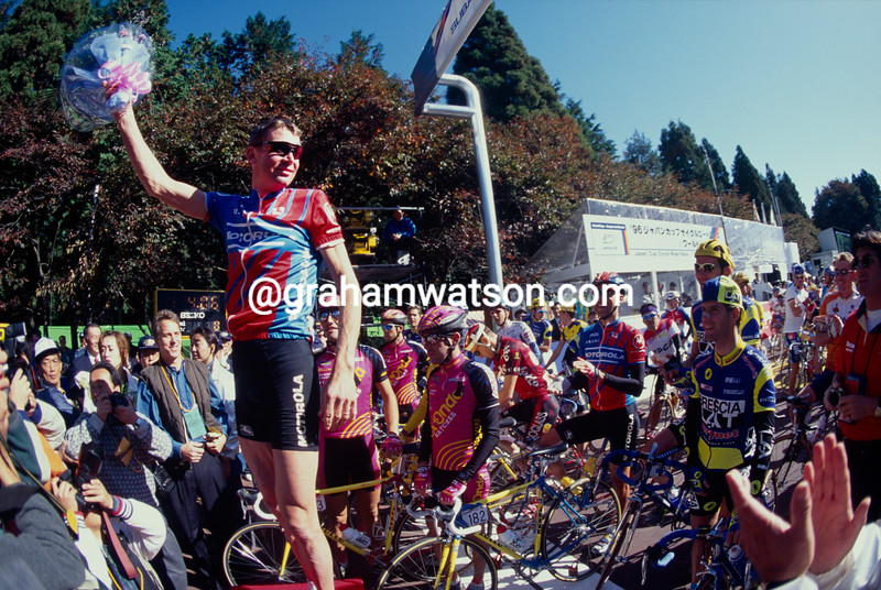 Sean Yates starts his last-ever race in the 1996 Japan Classic