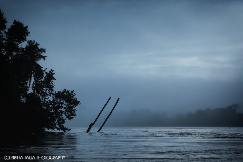 Kinabatangan River in a tranquil morning in Malaysian Borneo