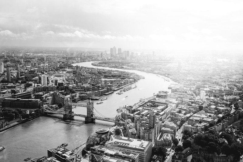 London - a view from the Shard, B&W