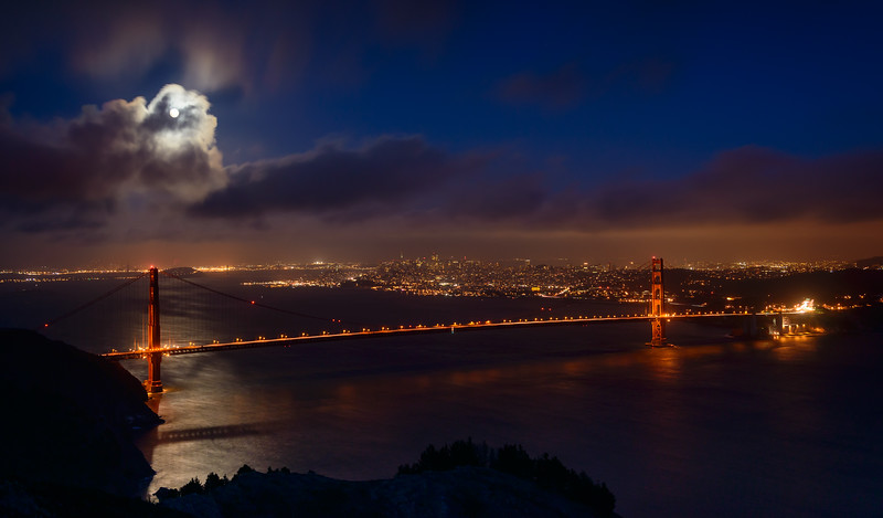 Golden Gate Bridge Under Full Moon