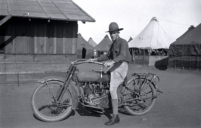 Soldier on a 1916 Harley Davidson during the Pancho Villa expedition.