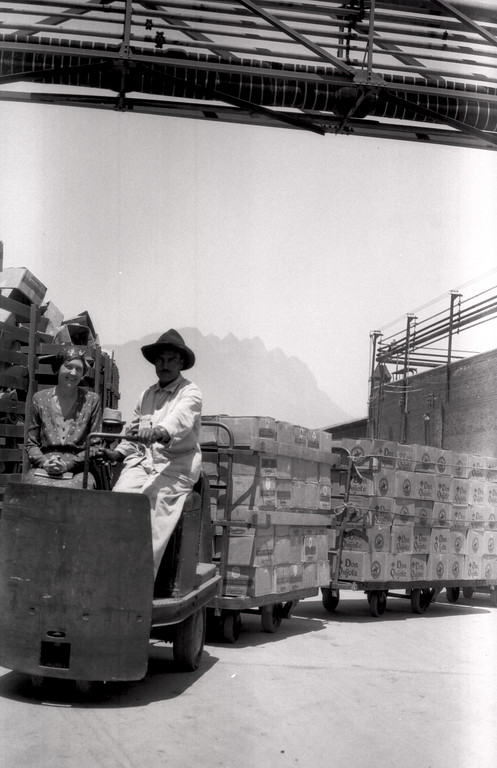Don Quijote brewery in Mexico. Probably either the Cervezeria Cuauhtemoc in Monterrey or Cervezeria Central in D.F. The first cart is a Cuauhtemoc brand, so the photo was taken sometime after Cuauhtemoc bought out Central in 1929.