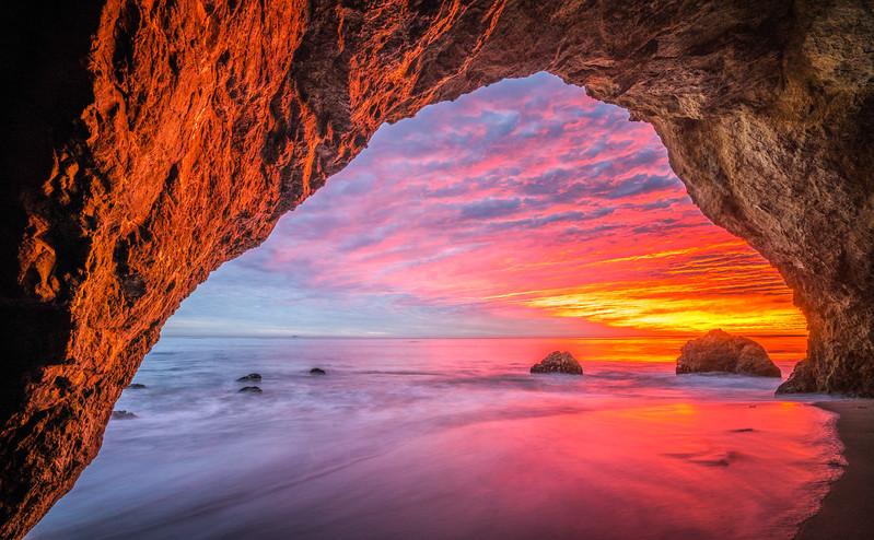 Epic Malibu Sea Cave Sunset