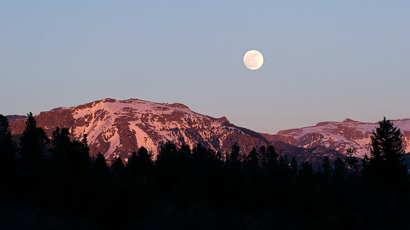 Full moon over Rocky Mountain National Park