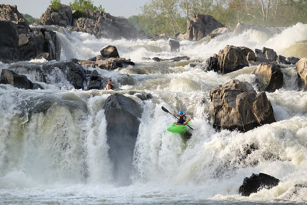 Kayaker goes down Great Falls