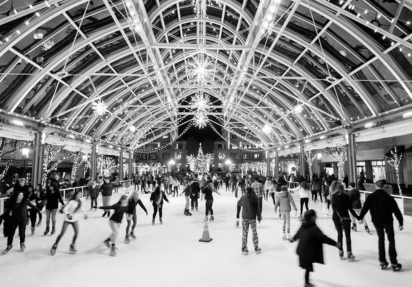 Reston Town Center ice rink (black and white)