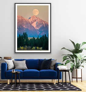 'Steeples Moon Rise' Canvas Print, Float Mount Metal Print or Fine Art Print (as pictured, framed) Framed/Unframed