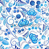 Seamless floral pattern Gzhel with blue ornamental flowers and white background. Russian ornament