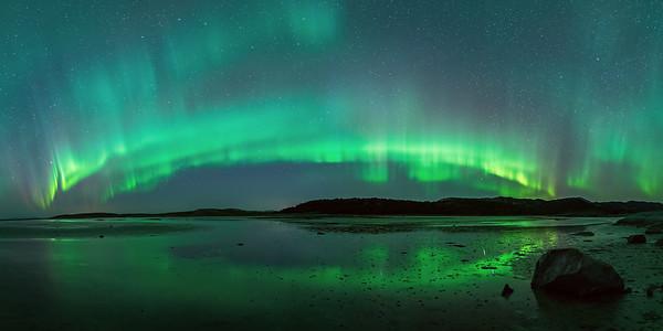 Kvalnes panorama aurora borealis