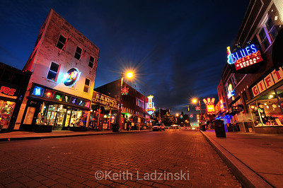 The iconic blues area, Beal Street, lit up and seen at dusk, Memphis Tennessee