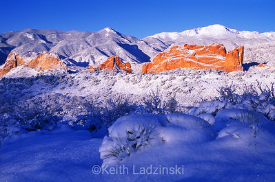 sunrise and snowy garden of the gods scene