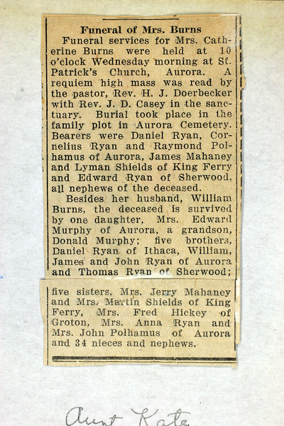 Obituary for Mrs. Catherine Burns. (Photo ID: 35742)