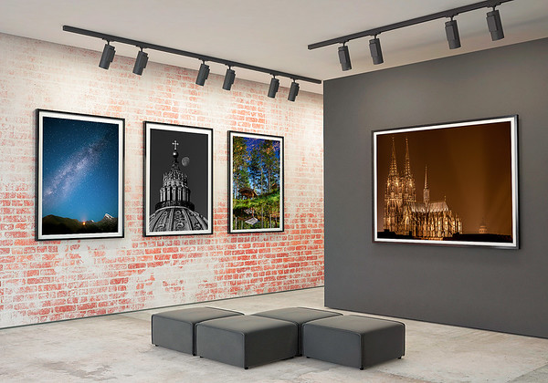 mock up posters frames and canvas in gallery interior background