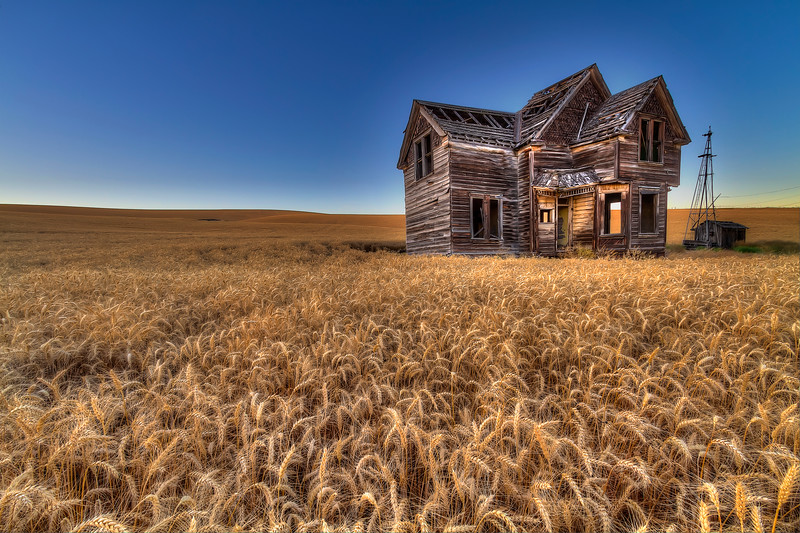 "Fresh Crop, Weathered House<br /> By Brett Downen<br /> <br /> Float Mounted MetalPrint<br /> Available sizes: 4"" x 6"", 8"" x 12"", 16"" x 24"". 24"" x 36"""