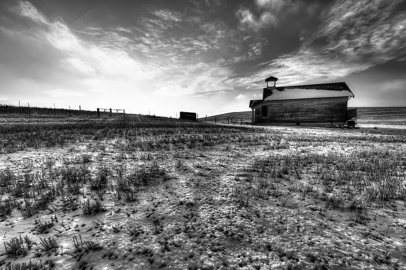 """Abandoned Schoolhouse on the High Plains<br /> By Brett Downen<br /> <br /> Float Mounted MetalPrint<br /> Available sizes: 4"""" x 6"""", 8"""" x 12"""", 16"""" x 24"""". 24"""" x 36"""""""